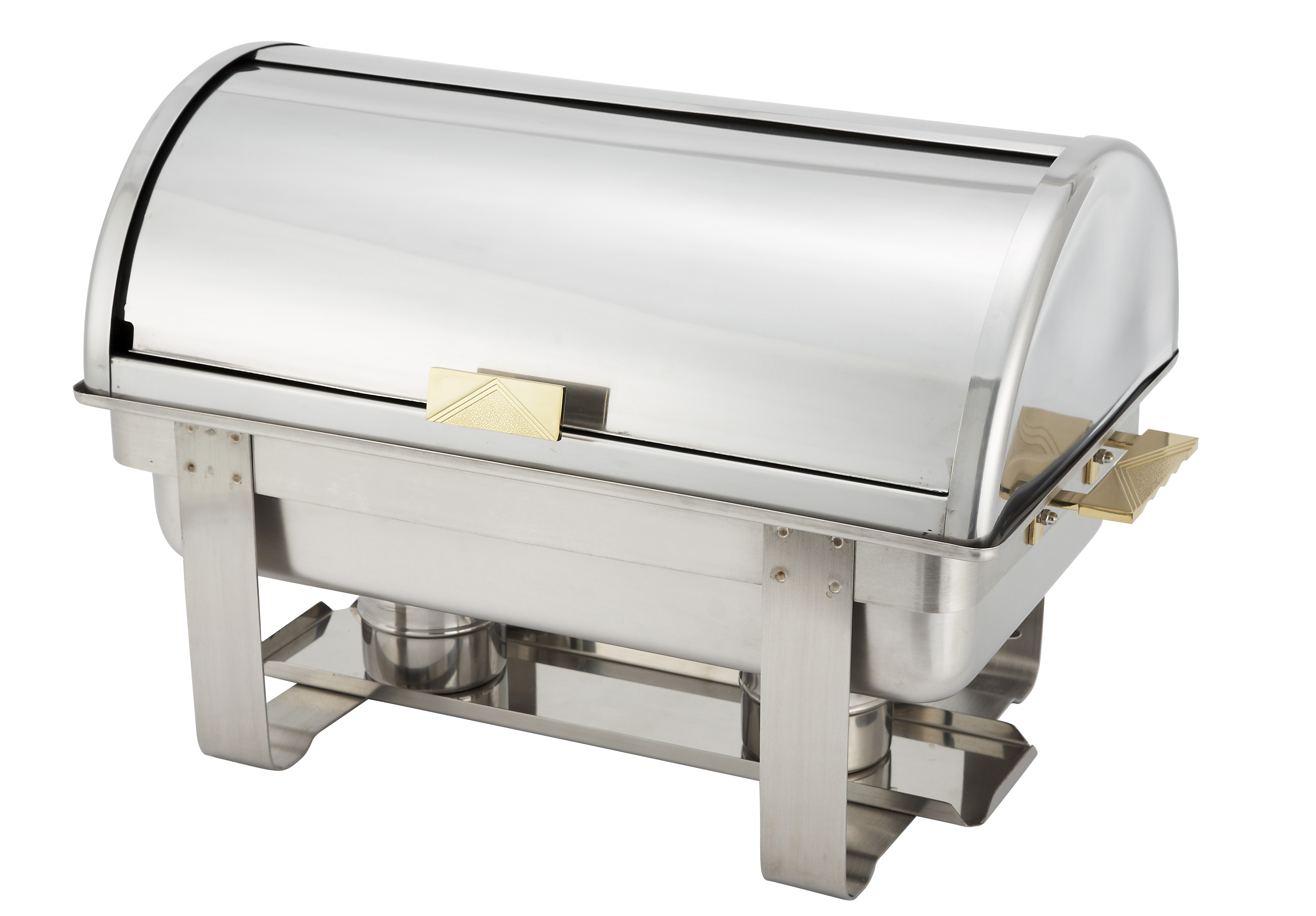 8 Qt Full Size, Roll Top, Gold Accent Chafer